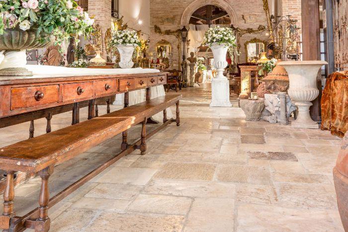 Original Antique Italian Floor - Antique light stone