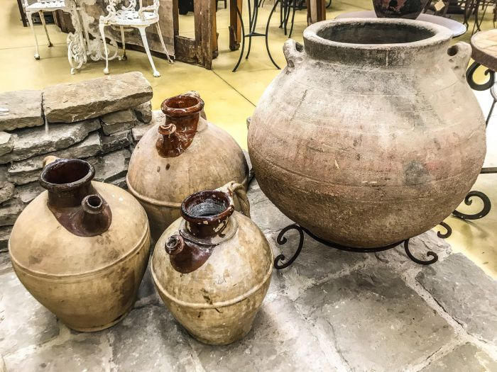 Beautiful and Antique terracotta amphorae and jugs