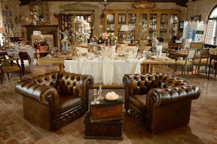 Antique Chesterfield armchairs, original